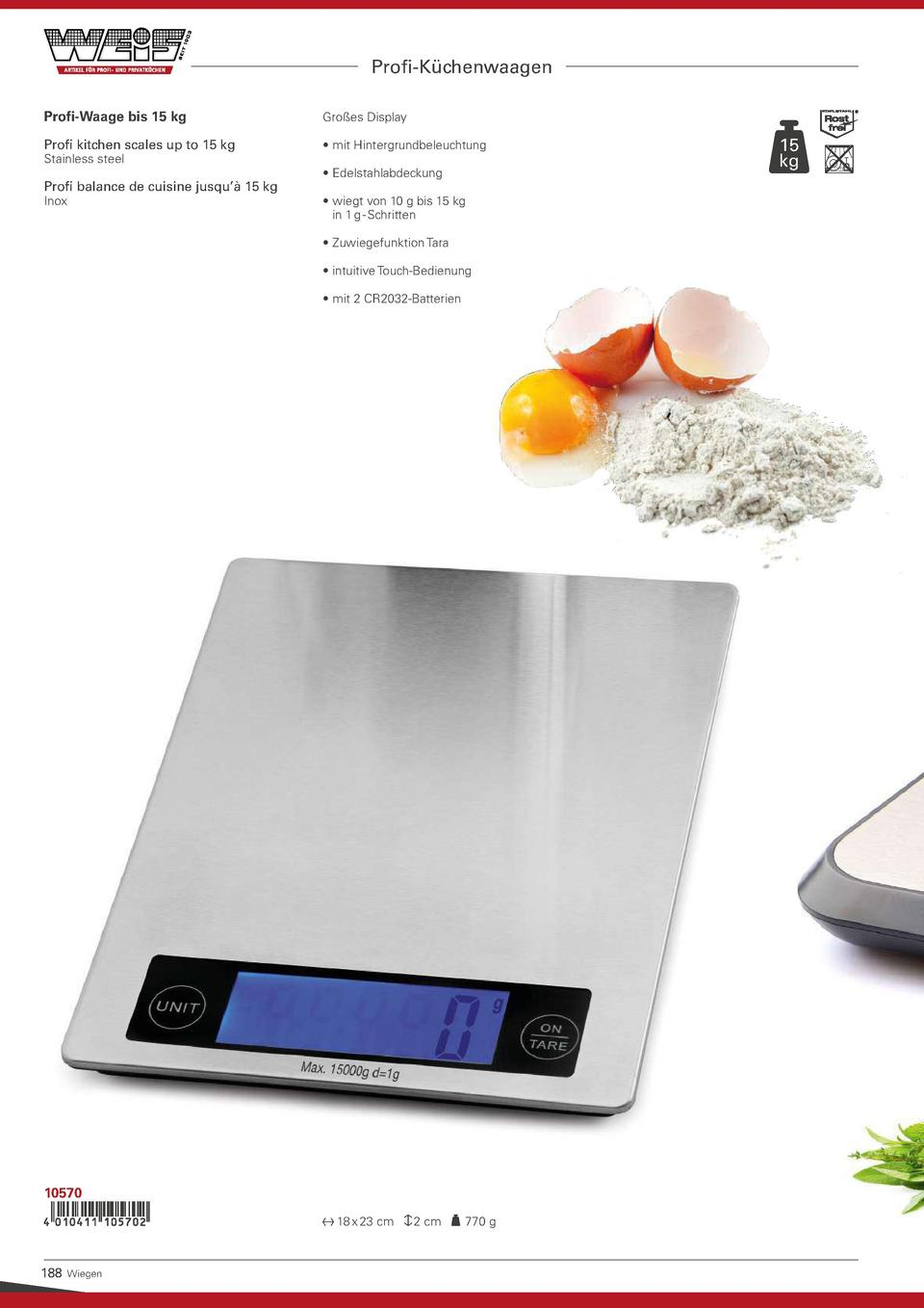Profi-K  chenwaagen Profi-Waage bis 15 kg  Gro  es Display  Profi kitchen scales up to 15 kg       mit Hintergrundbeleucht...
