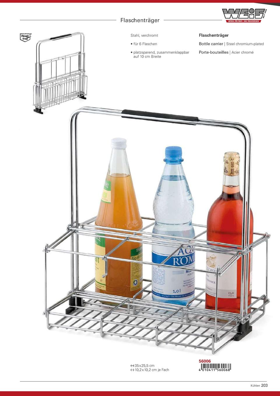 Flaschentr  ger Stahl, verchromt  Flaschentr  ger      f  r 6 Flaschen  Bottle carrier   Steel chromium-plated       platz...