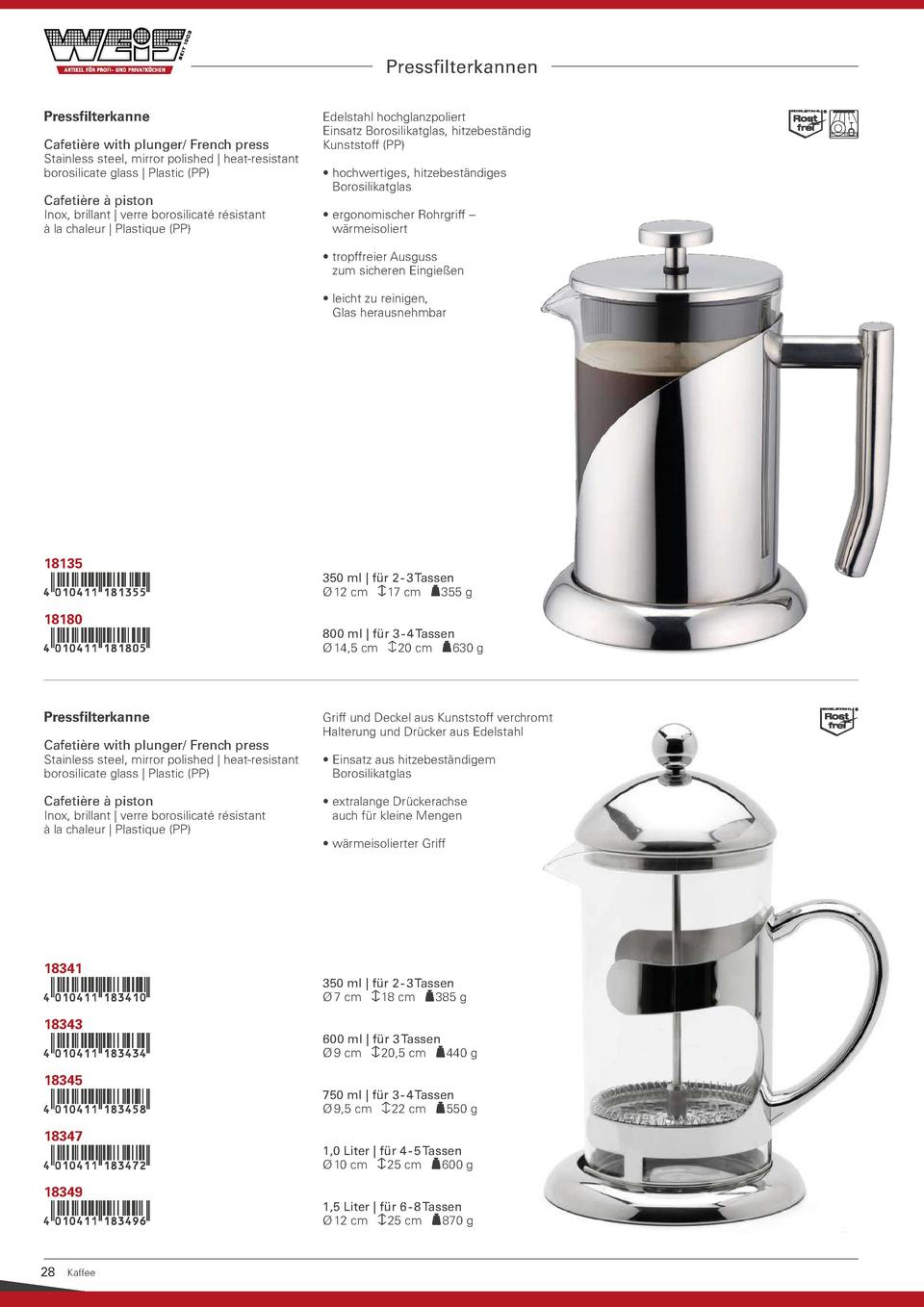 Pressfilterkannen Pressfilterkanne Cafeti  re with plunger  French press  Stainless steel, mirror polished   heat-resistan...