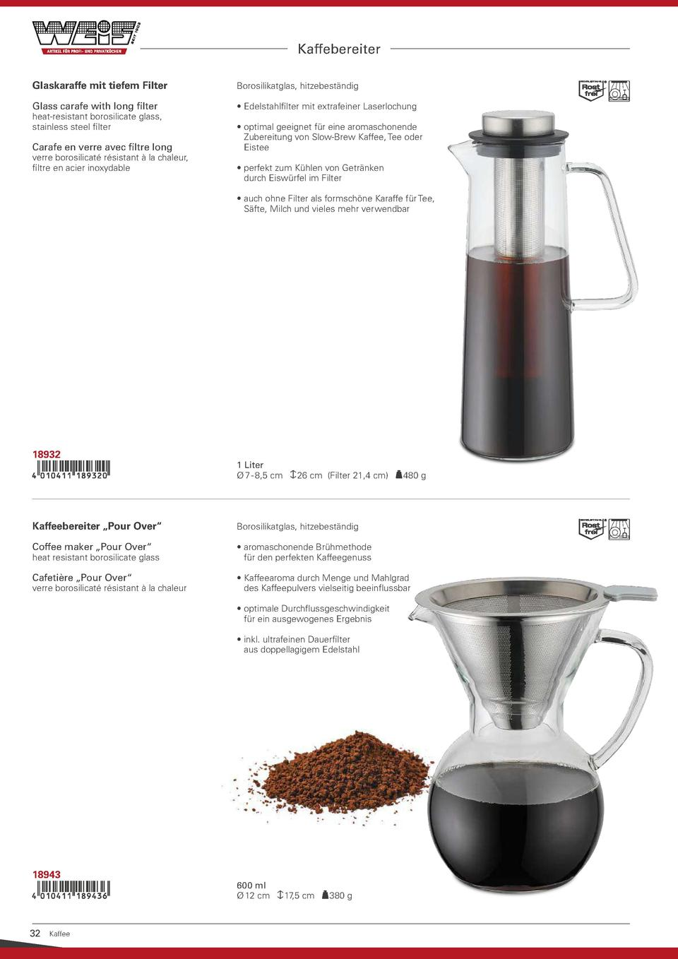 Kaffebereiter Glaskaraffe mit tiefem Filter  Borosilikatglas, hitzebest  ndig  Glass carafe with long filter      Edelstah...